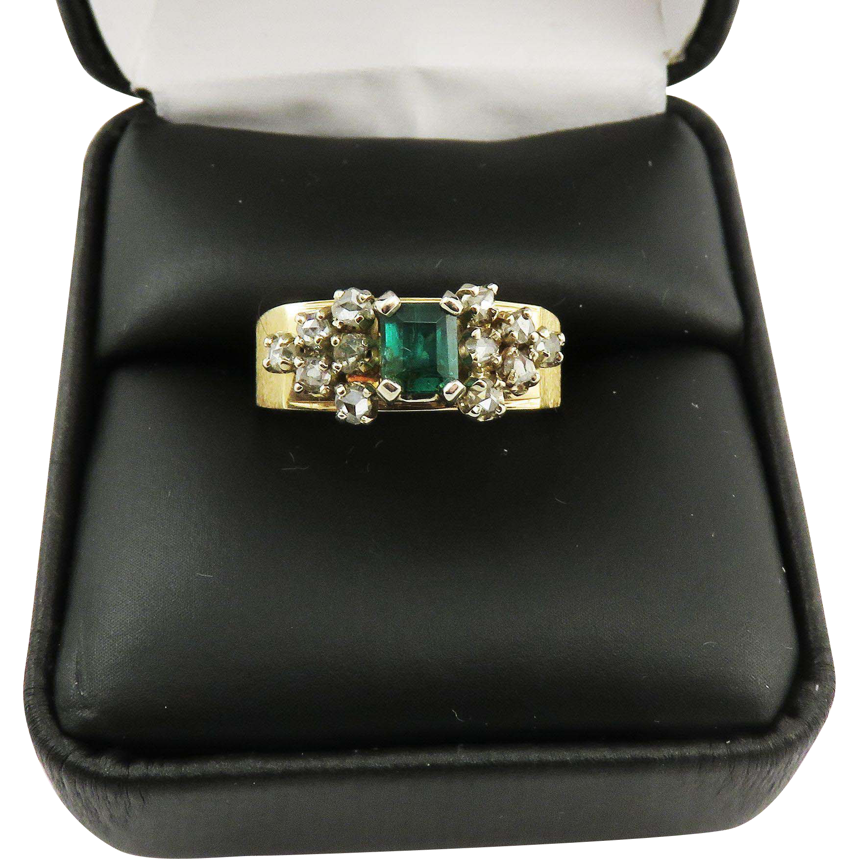 TRULY WONDERFUL Unisex Estate .80 Ct. TW Colombian Emerald/Rose-Cut Diamond/14k Ring, 6.52 Grams, c.1960!