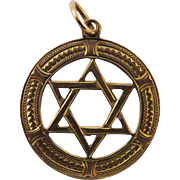 SO RARE Unisex Edwardian 9k Star of David Pendant, Full Hallmarks, 1901!