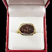 WONDERFUL Ottoman Empire Ring set with Romano-Egyptian Intaglio of Winged Ibex, c.1800/100 AD!