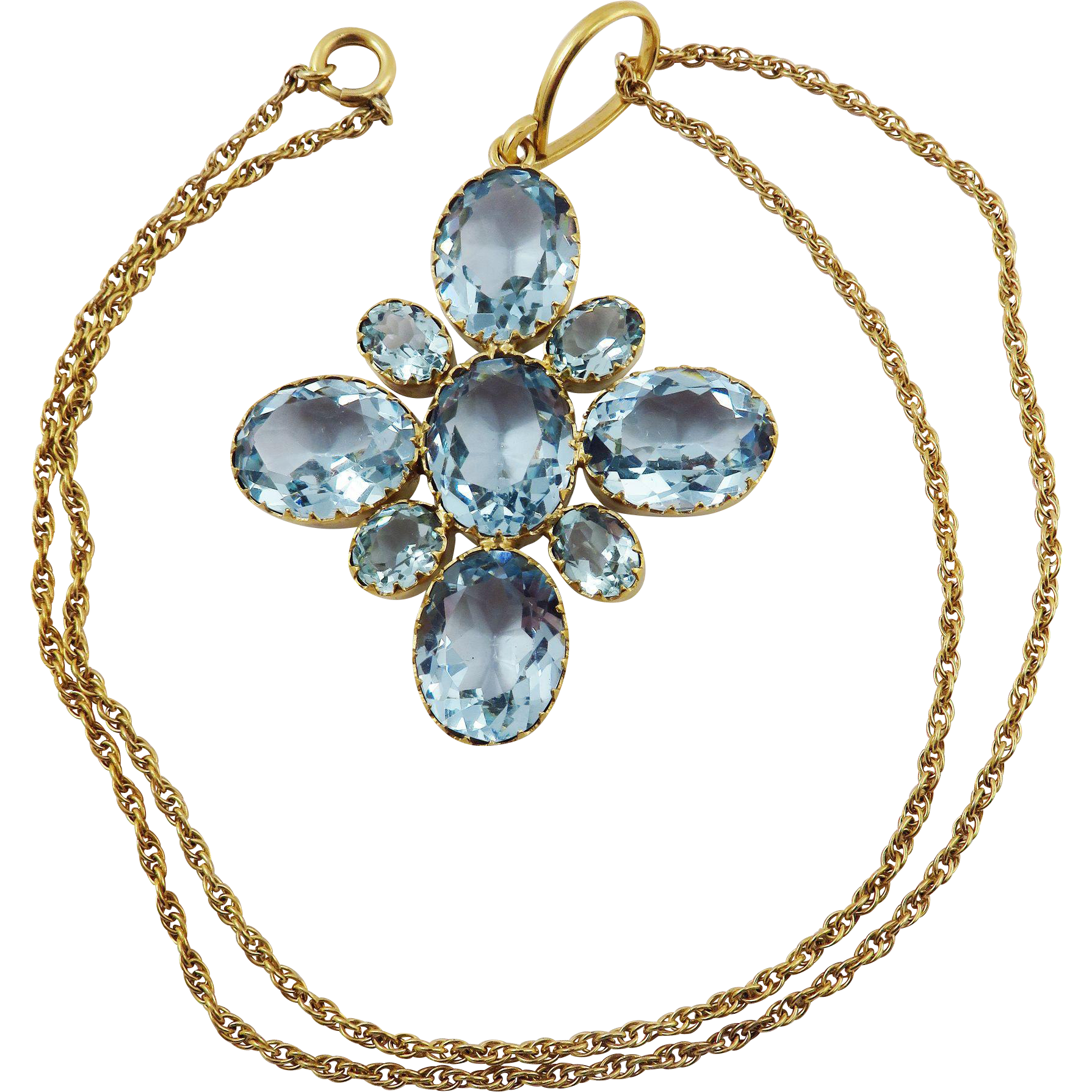 "FABULOUS XL Late Georgian Aquamarine Paste/Pinchbeck Pendant on Antique 18"" GF Chain, c.1830!"