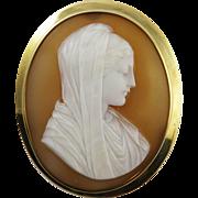 HEAVENLY Italian Shell Cameo of the Virgin Mary Set in 10k & 14k Brooch, c.1870!