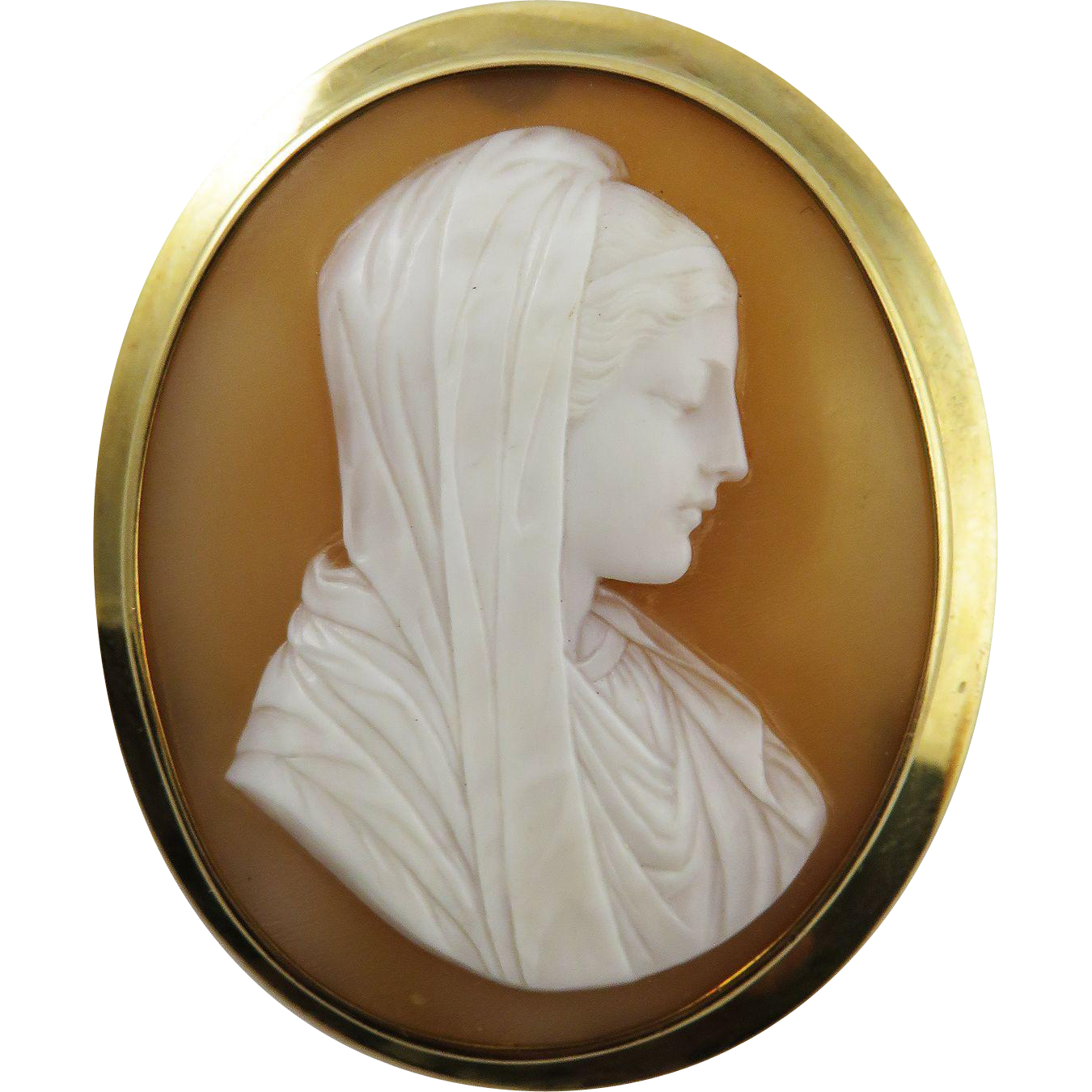 HEAVENLY Italian Shell Cameo of the Virgin Mary Set in 10k & 14k Brooch, c.1870!