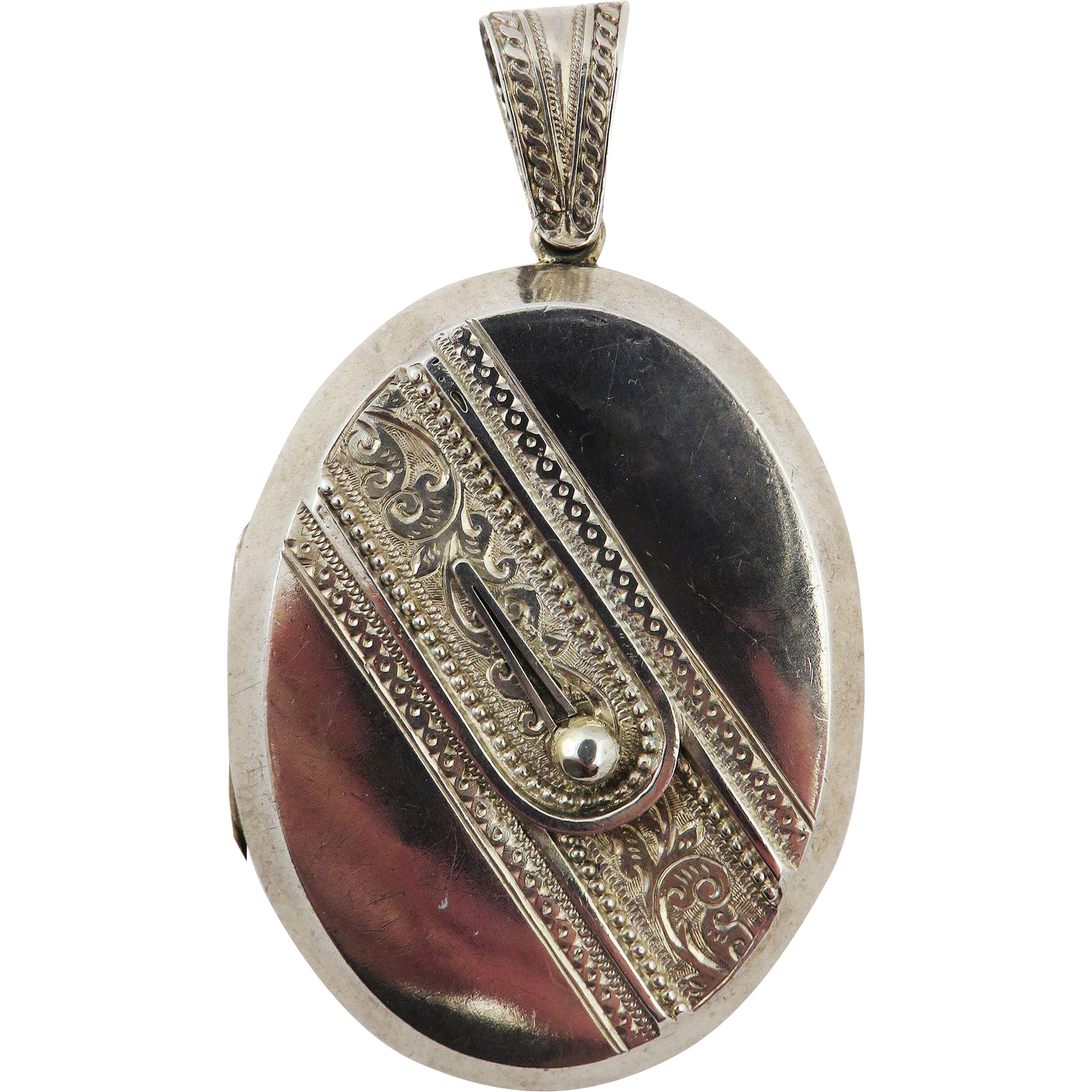ALL BUTTONED UP XL Victorian Sterling Cuff-Motif Locket, c.1880!