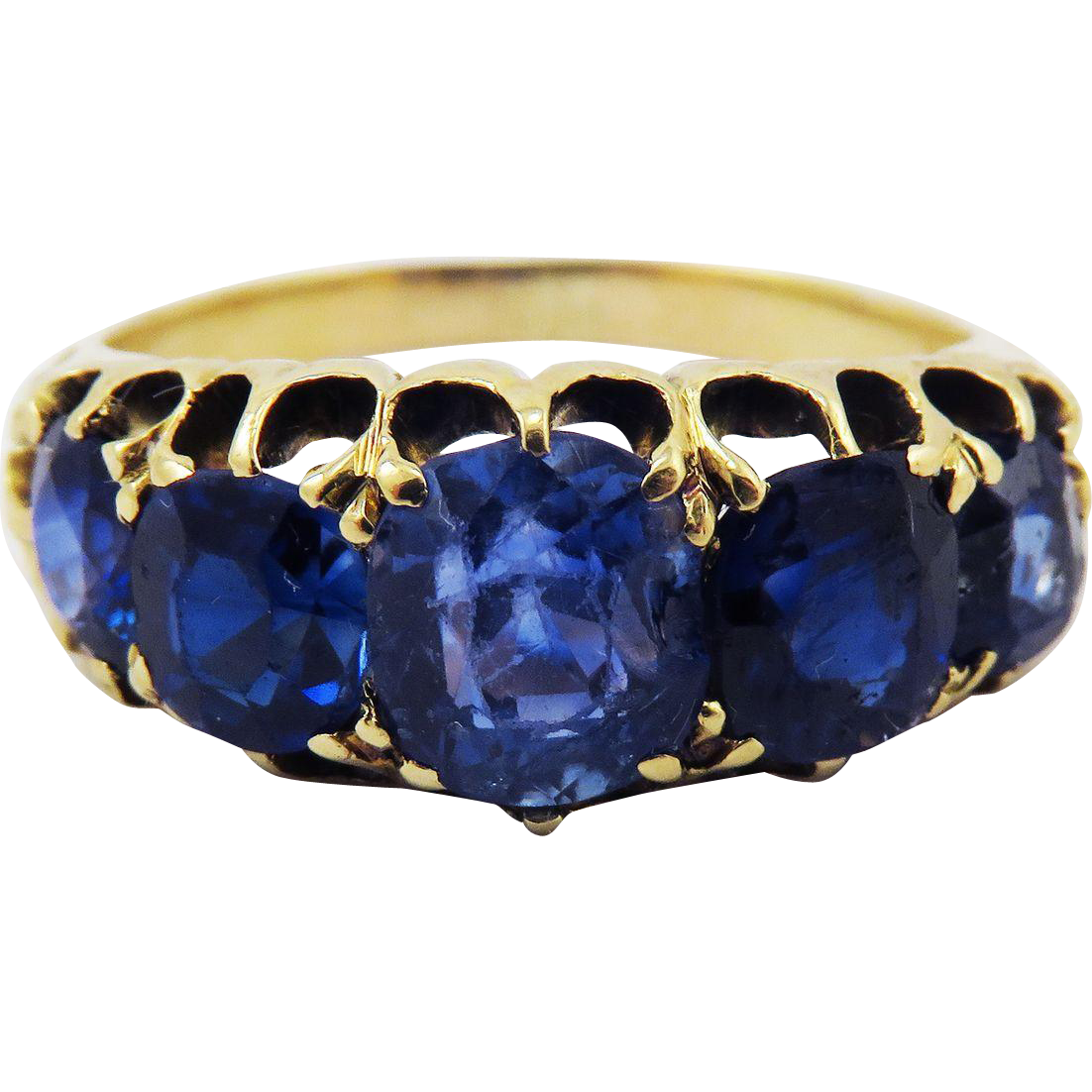 SO DREAMY Victorian 4.59 Ct. TW 5-Stone Unheated Ceylon Sapphire/18k Ring, c.1890!