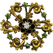 SO FIERY OMC Diamond/Demantoid Garnet/14k Lapel Brooch, c.1890!