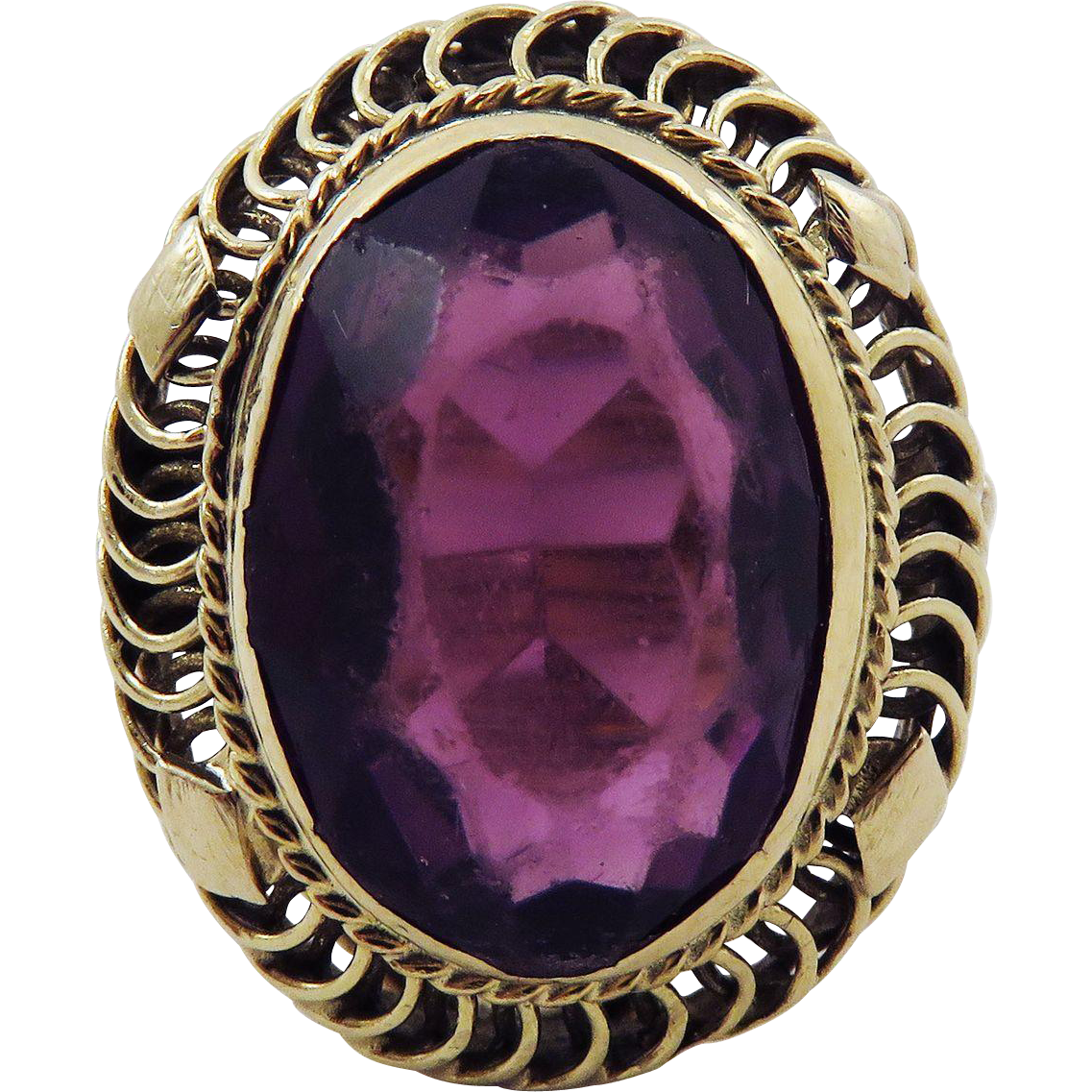DAZZLING Late Victorian 6.82 Ct. Siberian Amethyst/14k Ring, 5.26 Grams, c.1895!
