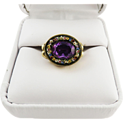 GLORIOUS Regency 2.61 Ct. Unheated Violet Sapphire/Micromosaic/12k Ring, c.1810!