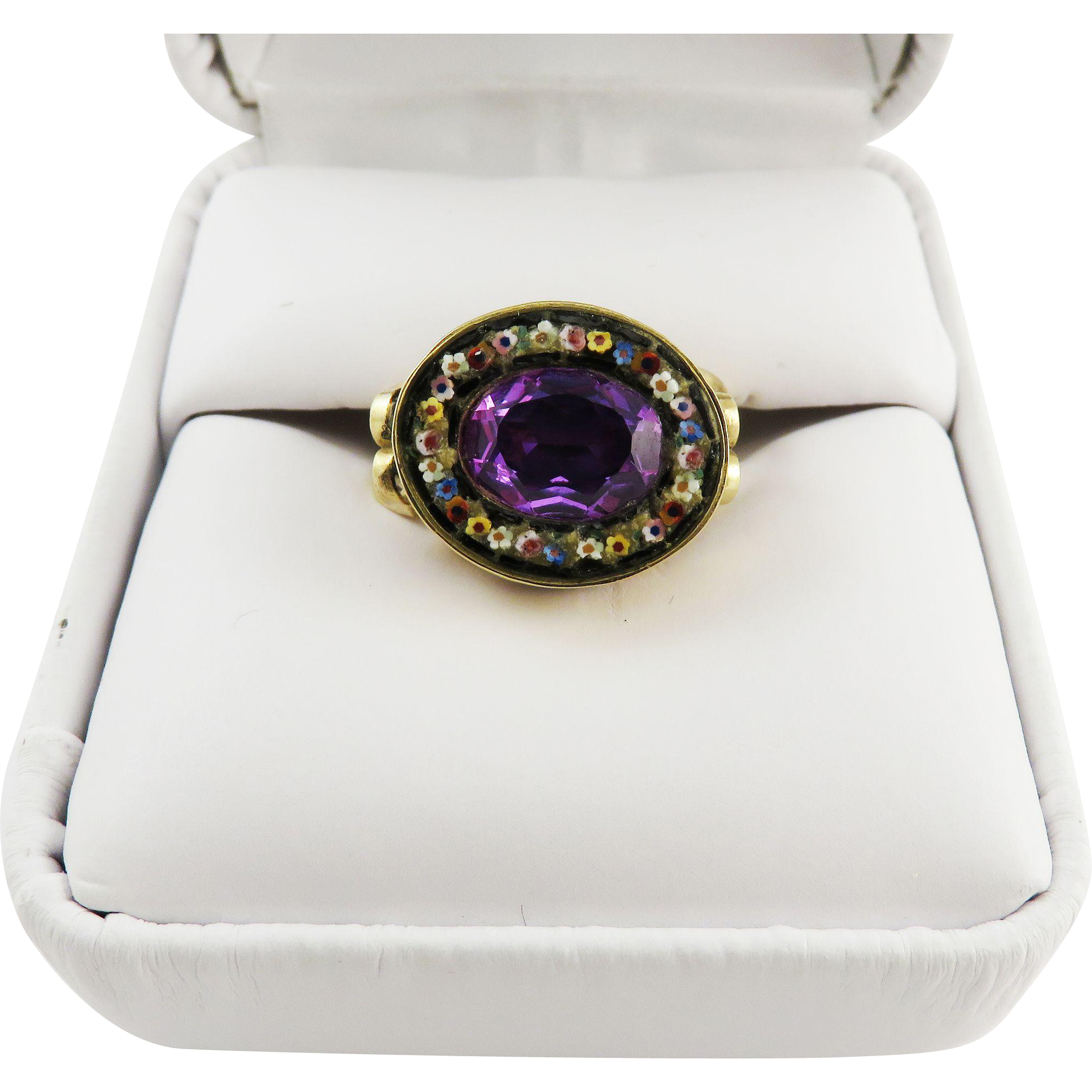 GLORIOUS Regency 2.61 Ct. Unheated Violet Sapphire/Micromosaic/12k Ring, c.1810!