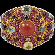 OSCAR WORTHY XL Late Victorian 60+ Ct. TW All-Natural Gem-Encrusted Silver Gilt Cuff Bracelet, 65.69 Grams, c.1895!