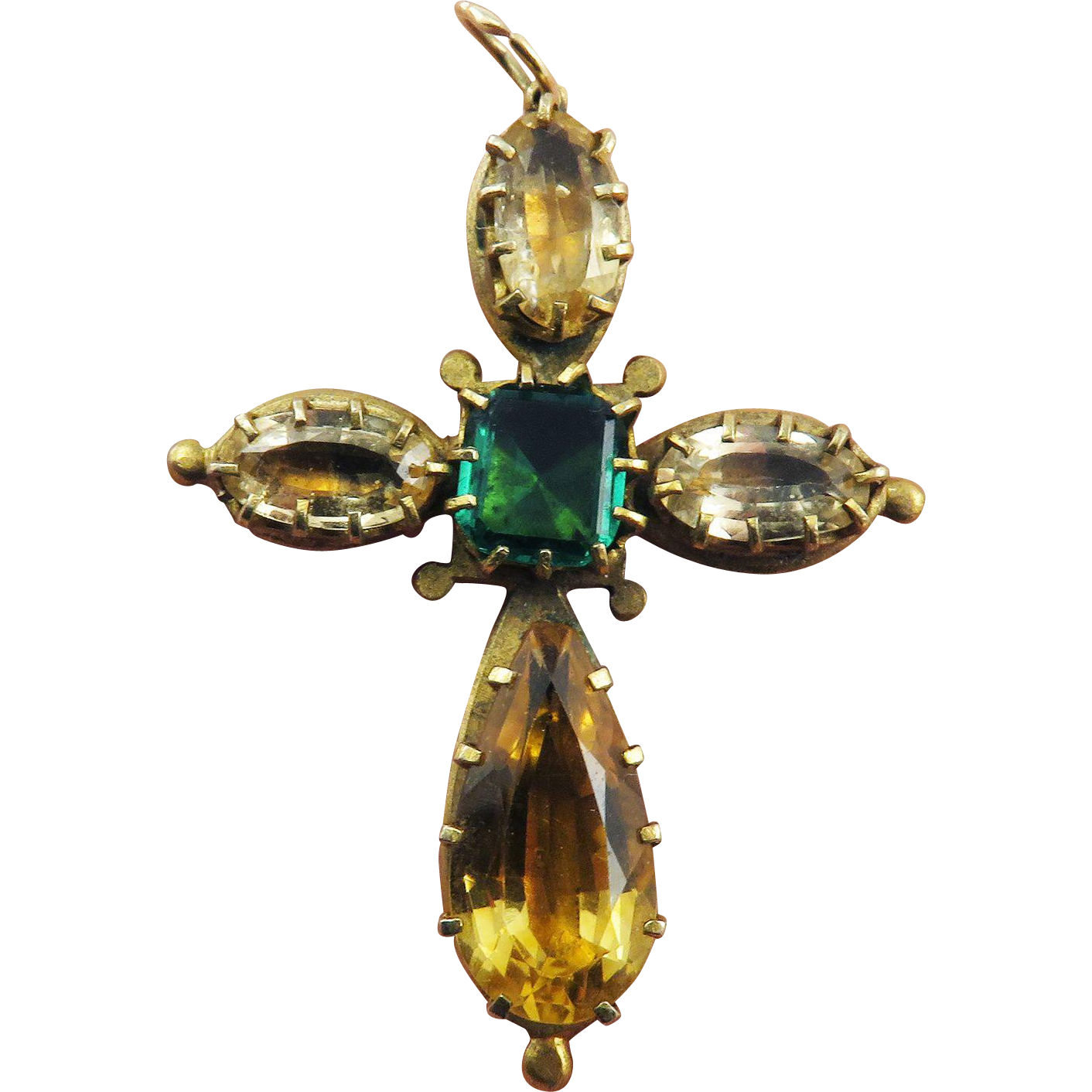 EXQUISITE Georgian 10.27 Ct. TW Jeweled Citrine & Topaz/Pinchbeck Cross Pendant, c.1825!