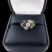 SO UNIQUE French 1.11 Ct. TW OMC Diamond/Enamel/9k Trilogy Ring, c.1880!