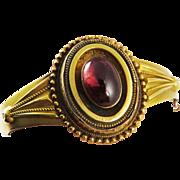 SO ROMANTIC High Victorian 5.91 Ct. Garnet Carbuncle/15k Bracelet w/Photo Locket, 13.54 Grams, c.1860!