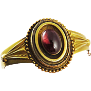 SO ROMANTIC High Victorian 5.91 Ct. Garnet Carbuncle/15k Bracelet w/Photo Locket, 13.54 Grams, c.1860!