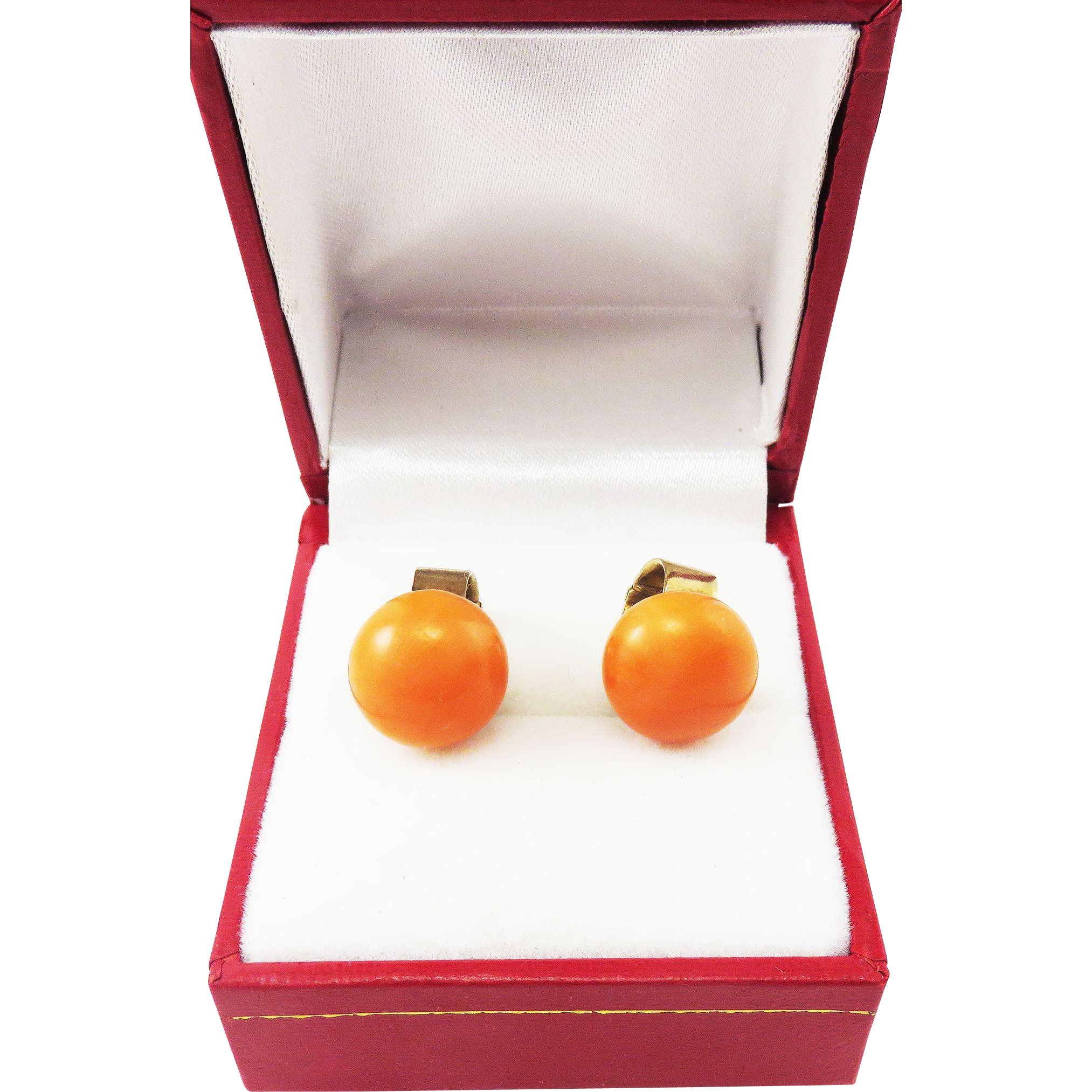 "LUSCIOUS & RARE Edwardian Natural Italian Coral/9k ""Bouton"" Earrings, Early Clip Backs, 6.68 Grams, c.1905!"