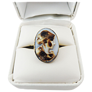 LOVELY Georgian Cowie Shell Cameo of Athena Set in Copper-Gilt/18k Ring, c.1750/1950!