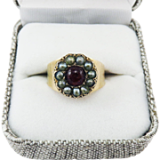 GORGEOUS Regency-Era 3/4 Ct. Ruby/Seed Pearl/15k Ring, c.1805!