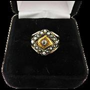 STUNNING Georgian Unisex Rose-Cut Diamond/Seed Pearl/Yellow & Rose Gold 15k Ring, 4.67 Grams, c.1805!