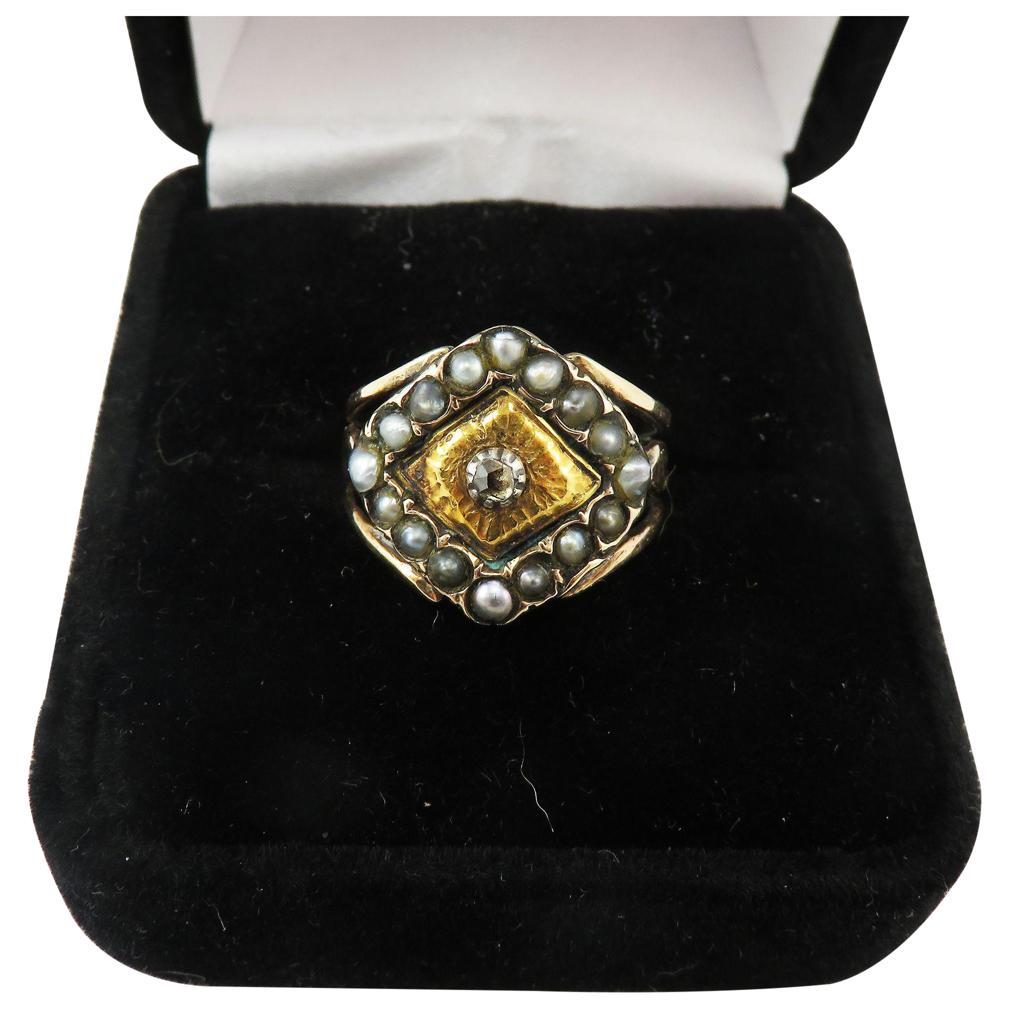 STUNNING Georgian Unisex Rose-Cut Diamond/Seed Pearl/Yellow & Rose Gold 15k Ring, 4.67 Grams, c.1805!