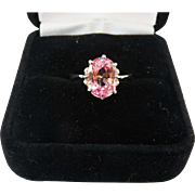 GLORIOUS 4.52 Ct. Natural Padparadscha Sapphire Solitaire/14k WG ring, c.1955!