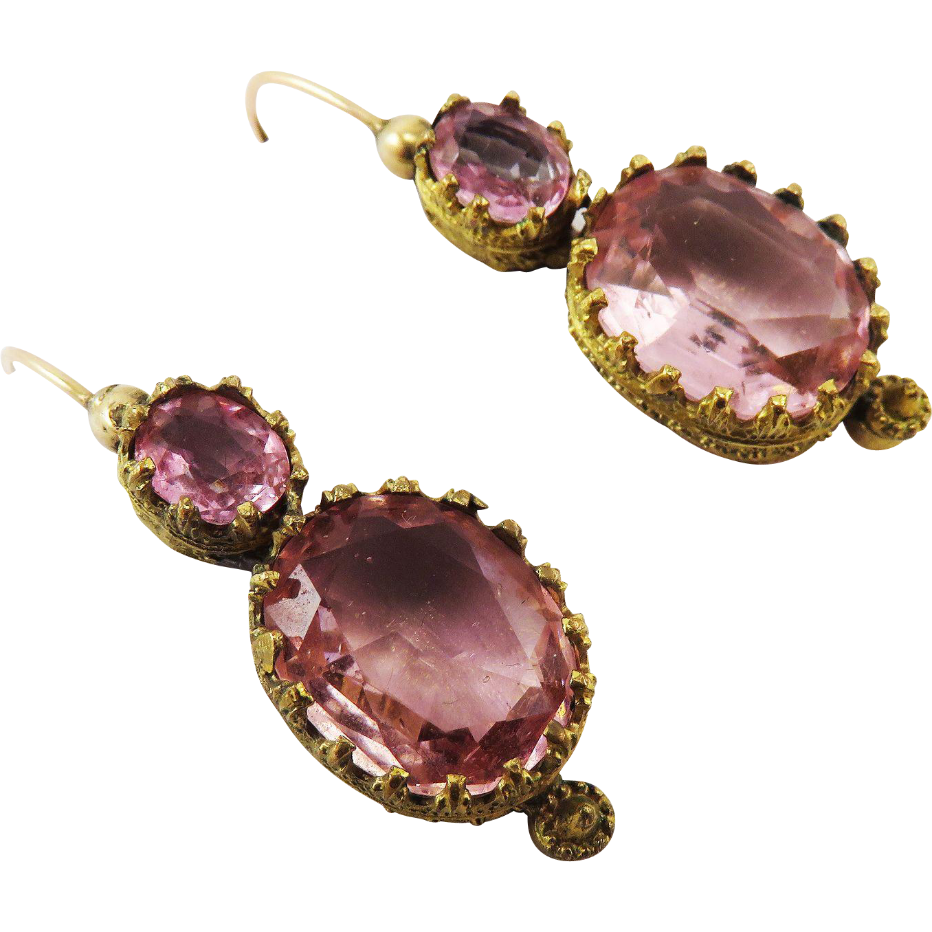 PRETTY IN PINK Late Georgian Paste/Pinchbeck/9k Drop Earrings, c.1830!