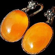 PHENOMENAL Queen Anne 67+ Ct. TW Carnelian/Cut Steel/Copper Gilt Earrings, c.1745!