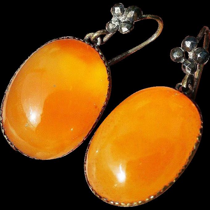 """PHENOMENAL """"Queen Anne"""" 67+ Ct. TW Carnelian/Cut Steel/Copper Gilt Earrings, c.1745!"""
