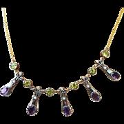 RAREST Arts & Crafts Siberian Amethyst/Peridot/Pearl/Diamond/9k/Sterling Suffragette Necklace, c.1905!