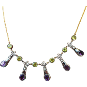 RAREST Arts & Crafts Siberian Amethyst/Peridot/Pearl/Diamond/9k/Sterling Suffragette Necklace, c.1905!