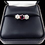 TOP-QUALITY Late Victorian 2.21 Ct. TW Three-Stone OMC/OEC Diamond & Ruby/14k Ring, c.1890/1925!