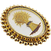 LUMINOUS Georgian Mother-of-Pearl/Gold Wire/Hair/Pinchbeck Wheat Sheaf Lover's Brooch, c.1820!