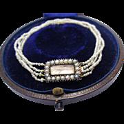PRISTINE Regency-Era Natural Seed Pearl/Hair Token/9k Bracelet, Inscribed 1807, Boxed!