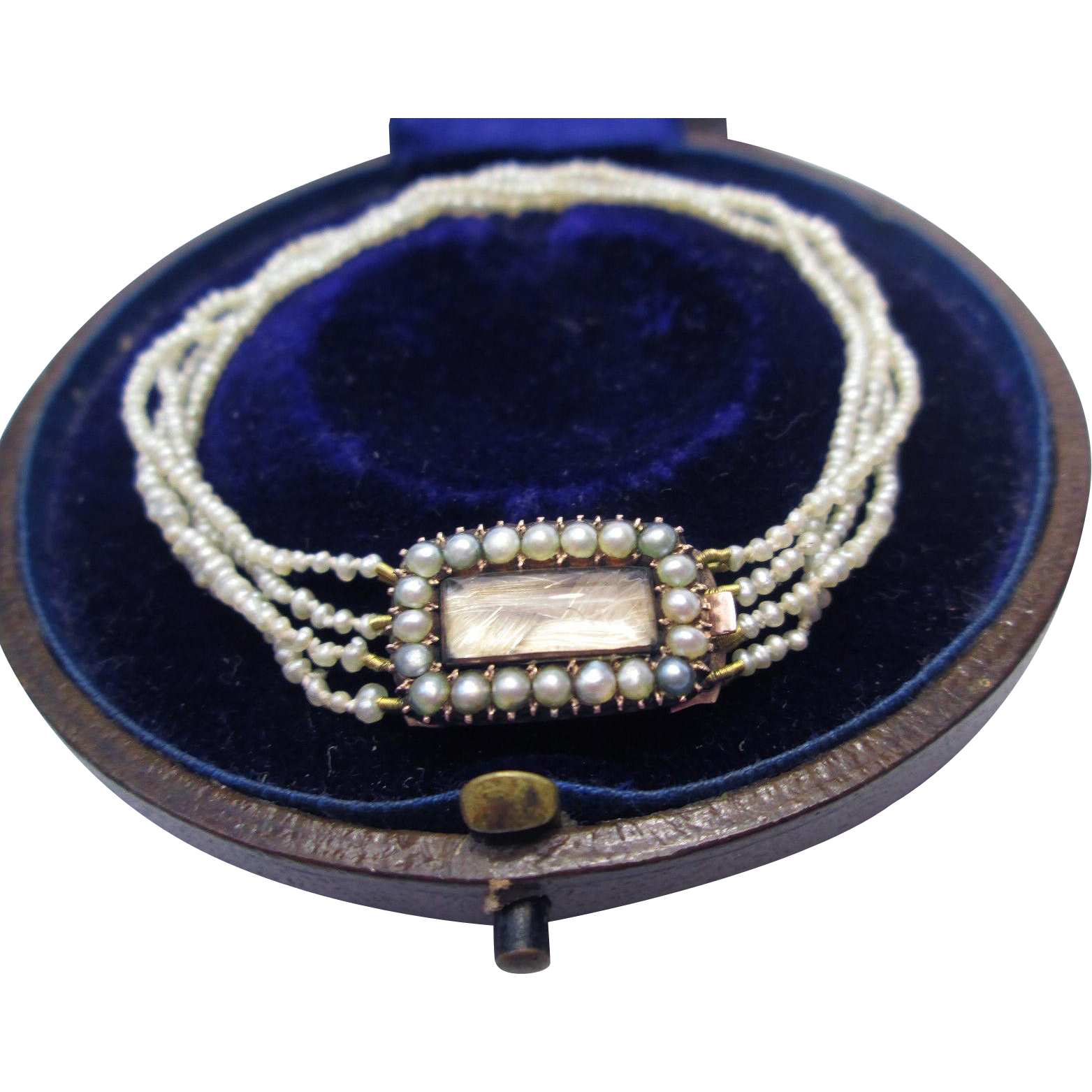 PRISTINE Regency-Era Natural Seed Pearl/Hair Token/9k Bracelet, Inscribed 1807, Boxed!