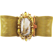 """EXTRA-LARGE 7 1/2"""" Late Georgian Pinchbeck/Banded Agate Bracelet, c.1830!"""