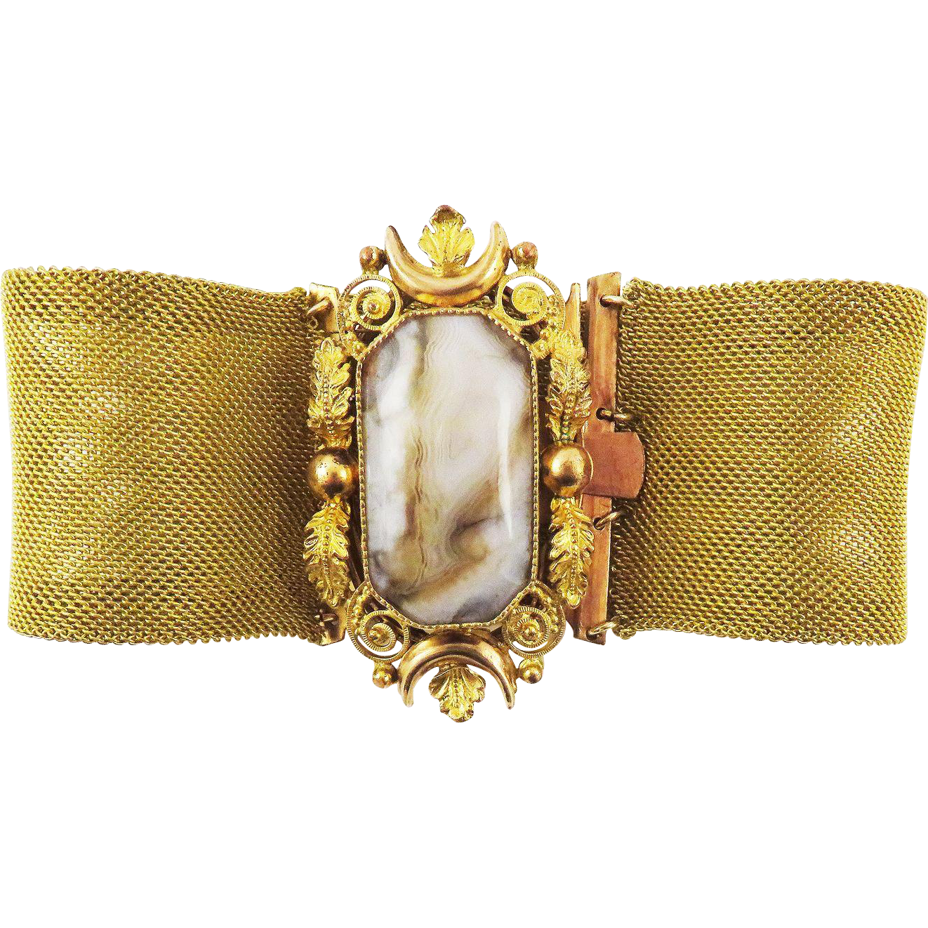 "EXTRA-LARGE 7 1/2"" Late Georgian Pinchbeck/Banded Agate Bracelet, c.1830!"
