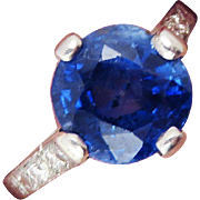 MAGNIFICENT 3.87 Ct. TW Untreated Ceylon Sapphire Solitaire/Diamond/Platinum Ring, c.1905!
