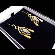 MUST-HAVE High Victorian Blue Enamel/Pearl/15k Girandole Earrings, c.1870!