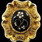 SO ROMANTIC Early Victorian Enamel/Pearl/Diamond/14k Mourning Brooch w/Hair Locket, c.1840!