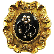 SO ROMANTIC Early Victorian Enamel/Pearl/Diamond/14k Mourning Brooch w/Hair Locket, c.1840!