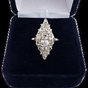 PHENOMENAL 2.85 Ct. TW Victorian Peruzzi-Cut and OMC Diamond Cluster Ring, c.1885!
