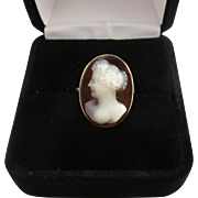 SO PRETTY Edwardian Sardonyx Cameo of a Fashionable Lady in 9k Ring, c.1910!