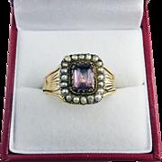 UNISEX Georgian Amethyst/Pearl/9k Ring, c.1810!