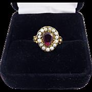 SO ROMANTIC Georgian Garnet/Pearl/18k Heart & Forget-Me-Not Motif Ring, c.1810!
