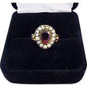 SO ROMANTIC Georgian Garnet/Pearl/18k Heart & Forget-Me-Not Motif Ring, c.1810!