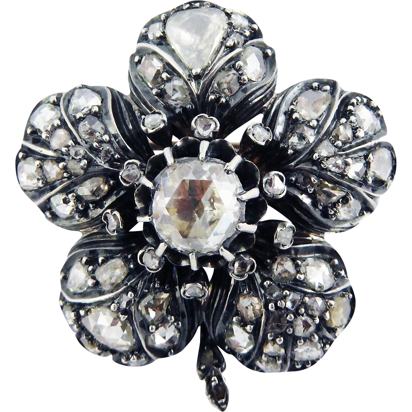 BRILLIANT Victorian 3.39 Ct TW Rose-Cut Diamond/18k/Sterling Flower Brooch, c.1875!