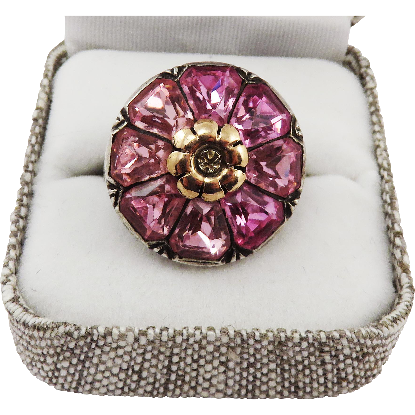 PRETTY IN PINK Pristine Late-Victorian Paste/9k/Sterling Ring, 7.67 Grams, c.1900!
