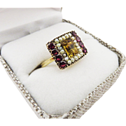 SO COLORFUL Regency-Era Citrine/Garnet/Seed Pearl/15k Ring, c.1805!