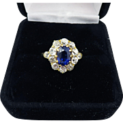 MAGNIFICENT 1.97 Ct. TW Untreated Color Change Sapphire/OMC Diamond/18k Ring w/$4,550.00 GIA Appraisal, c.1885!
