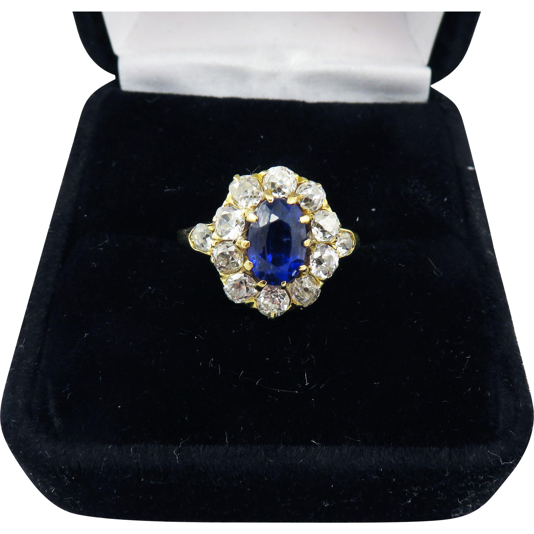 MAGNIFICENT 2.61 Ct. TW Untreated Color Change Sapphire/OMC Diamond/18k Ring w/$7,000.00 GIA Appraisal, c.1890!