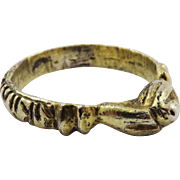 MEDIEVAL Silver Gilt Fede Posy Ring, Hands Holding Pomegranate, c.1300 AD!