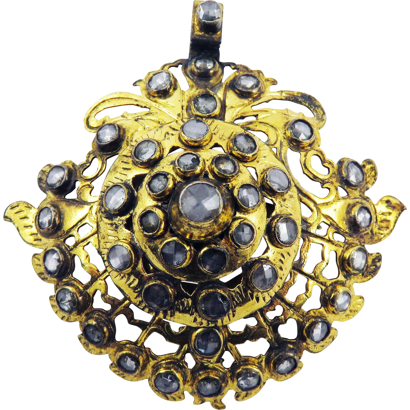 SHIMMERING 2.6 Ct. TW Large Indian Rose-Cut Diamond/8k Pendant, c.1870!
